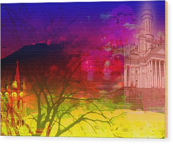 Wood Print featuring the digital art Surreal Buildings  by Cathy Anderson