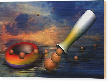 Surreal Dinner Served Over The Ocean Wood Print by Angela A Stanton
