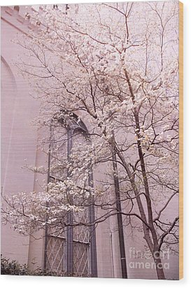Surreal Dreamy Church Window With Pink Trees Wood Print by Kathy Fornal