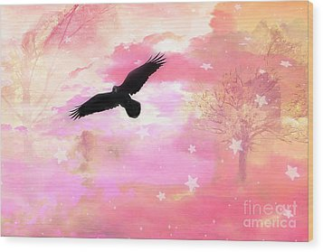 Surreal Dreamy Fantasy Ravens Pink Sky Scene Wood Print by Kathy Fornal