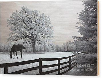 Surreal Dreamy Infrared Trees - Fantasy Infrared Horse Nature Landscape With Fence Post Wood Print by Kathy Fornal