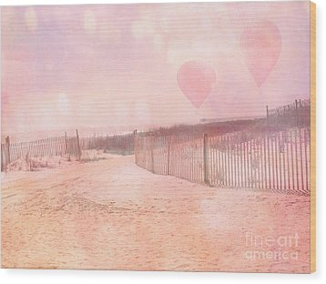 Surreal Dreamy Pink Coastal Summer Beach Ocean With Balloons Wood Print by Kathy Fornal
