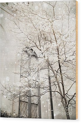Surreal Dreamy Winter White Church Trees Wood Print by Kathy Fornal