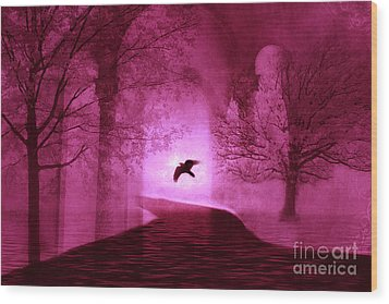 Surreal Fantasy Gothic Raven Crow Nature Wood Print by Kathy Fornal