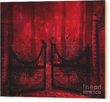 Surreal Fantasy Gothic Red Forest Crow On Gate Wood Print by Kathy Fornal