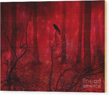 Surreal Fantasy Gothic Red Woodlands Raven Trees Wood Print by Kathy Fornal