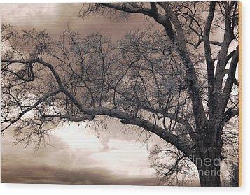 Surreal Fantasy Gothic South Carolina Oak Trees Wood Print by Kathy Fornal