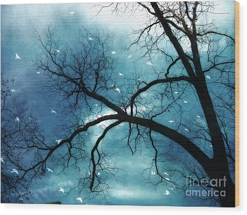 Surreal Fantasy Haunting Gothic Tree With Birds Wood Print by Kathy Fornal