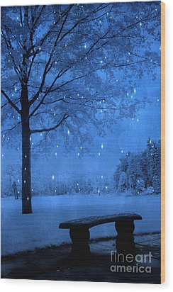 Surreal Fantasy Winter Blue Tree Snow Landscape Wood Print by Kathy Fornal