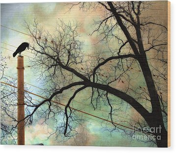 Surreal Gothic Crow Ravens Birds Fantasy Nature  Wood Print by Kathy Fornal