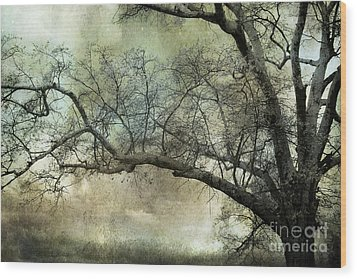 Surreal Gothic Dreamy Trees Nature Landscape Wood Print by Kathy Fornal