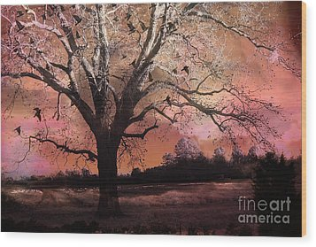 Surreal Gothic Fantasy Trees Pink Sky Ravens Wood Print by Kathy Fornal