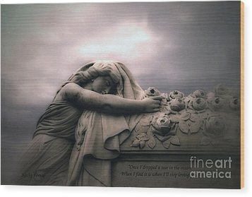 Surreal Gothic Sad Angel Cemetery Mourner - Inspirational Angel Art Wood Print by Kathy Fornal