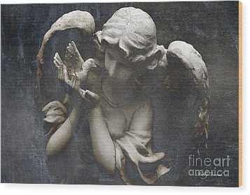 Ethereal Guardian Angel With Dove Of Peace Wood Print by Kathy Fornal