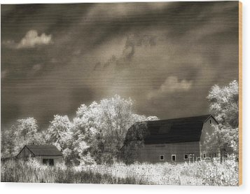 Surreal Infrared Sepia Rural Barn Landscape Wood Print by Kathy Fornal