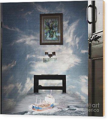 Surreal Living Room Wood Print by Laxmikant Chaware