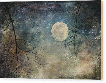 Surreal Night Sky Moon And Stars Wood Print