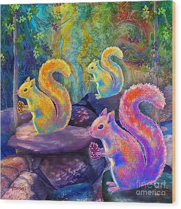 Surreal Squirrels In Square Wood Print