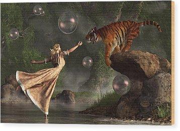 Surreal Tiger Bubble Waterdancer Dream Wood Print by Daniel Eskridge