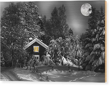 Surreal Winter Landscape With Moonlight Wood Print