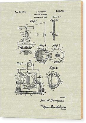 Surveying Instrument 1933 Patent Art Wood Print by Prior Art Design
