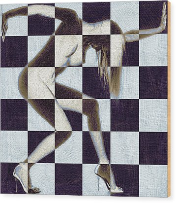 Survive Nude Woman Checkered 2 Wood Print by Tony Rubino