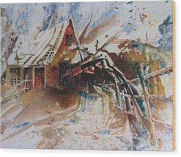 Surviving A Storm Wood Print by Ken McBride