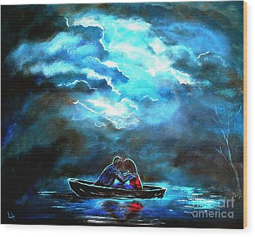 Surviving The Storm Wood Print by Leslie Allen