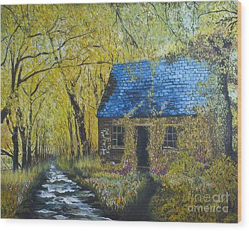 Wood Print featuring the painting Susan's Cottage by Suzette Kallen