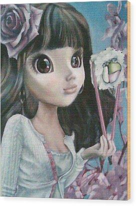 Sushi Girl Wood Print by Lori Keilwitz