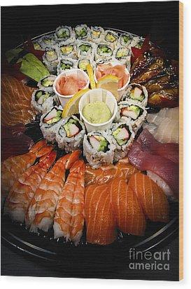 Sushi Tray Wood Print by Elena Elisseeva