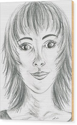 Wood Print featuring the drawing Portrait Stunning by Teresa White