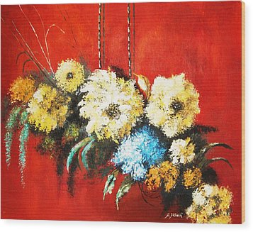 Wood Print featuring the painting Suspended Bouquet by Al Brown