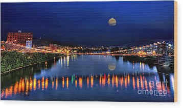 Suspension Bridge Wheeling Wv Panoramic Wood Print by Dan Friend