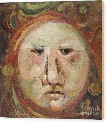 Suspicious Moonface Wood Print