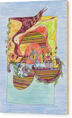 Sustainable Fish Pond Wood Print by Mukta Gupta