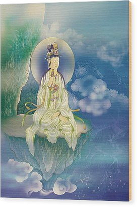 Wood Print featuring the photograph Sutra-holding Kuan Yin by Lanjee Chee