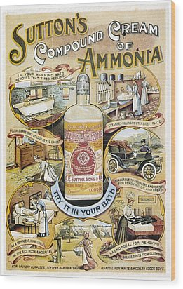 Wood Print featuring the photograph Sutton's Compound Cream Of Ammonia Vintage Ad by Gianfranco Weiss