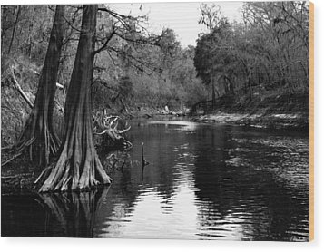 Suwannee River Black And White Wood Print