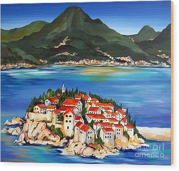 Sveti Stefan Montenegro 2 Wood Print by Roberto Gagliardi