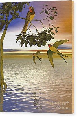 Wood Print featuring the digital art Swallows At Sunset by Sandra Bauser Digital Art