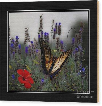 Swallowtail Among Blue Flowers Wood Print