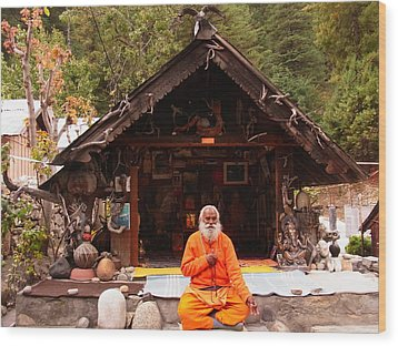 Swami Sundaranand At Tapovan Kutir 3 Wood Print