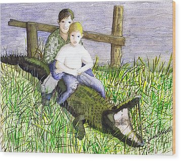Wood Print featuring the painting Swamp Boys by June Holwell