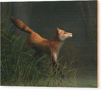 Swamp Fox Detail Wood Print by Daniel Eskridge