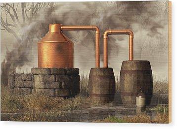 Swamp Moonshine Still Wood Print