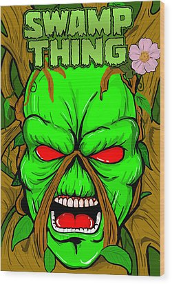 Swamp Thing Wood Print by Gary Niles