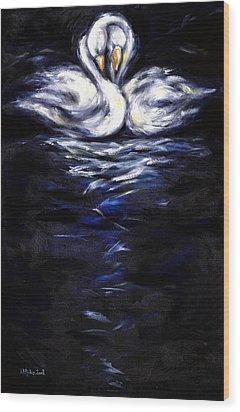 Swan Wood Print by Hiroko Sakai