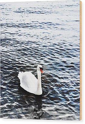 Swan Wood Print by Mark Rogan