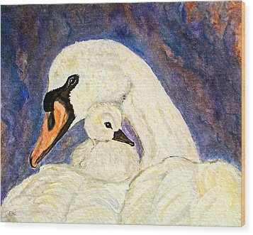 Wood Print featuring the painting Mother's Love Swan And Baby Painting by Ella Kaye Dickey